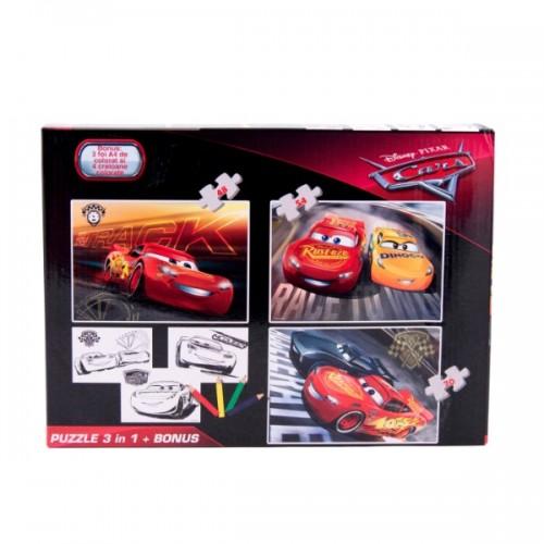 Puzzle 3in1 + Bonus Cars-500x500